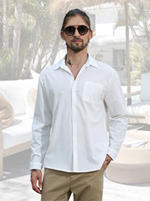 Yaohuole Casual Summer Shirts Long Sleeve Men's Lapel Shirt