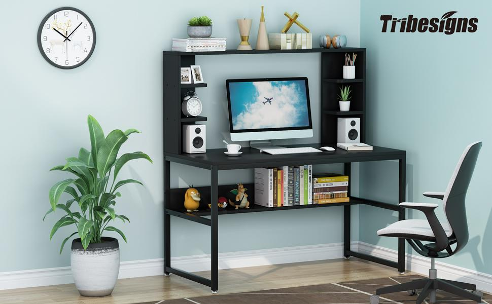Computer Desk with Hutch and Bookshelf, 47 Inches White Home Office Desk with Space Saving Design,