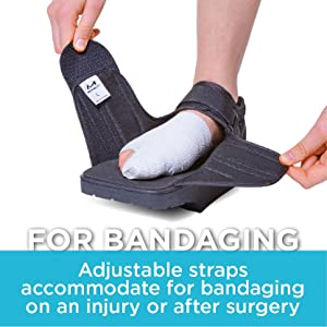 adjustable straps accommodate bandaging when wearing a darco off-loading shoe