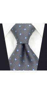 Ties for Men Grey Blue Dots