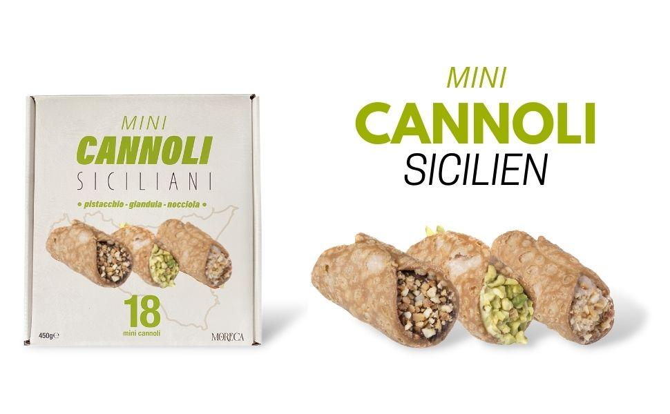 Siciliaanse mini cannoli, gevuld met pistache, gianduia en hazelnootcrème, moreca,italian koekjes
