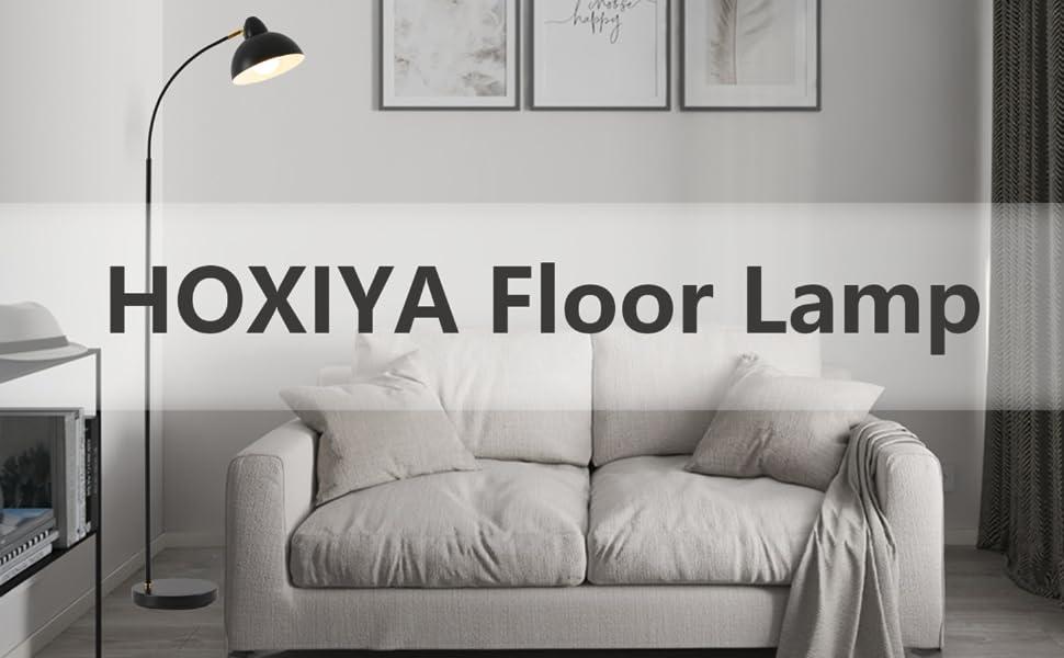 HOXIYA Black Floor Lamp Modern Minimalist Reading Lamp Floor Standing