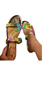Womens Casual Summer Crystal Sandals Slippers Comfy Beach Roman Flat Sandal Shoes