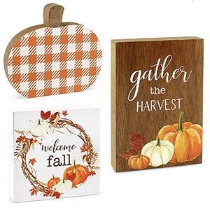 fall autumn theme wooden block signs set detail feature