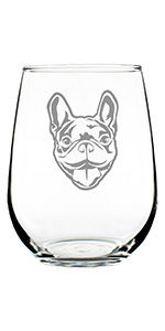 Design of a happy French Bulldog face, engraved on a stemless wine glass