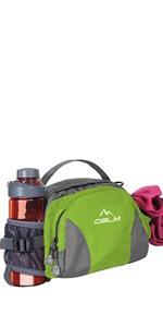 hiking fanny pack women men water bottle running belt walking large green waist bag cglm
