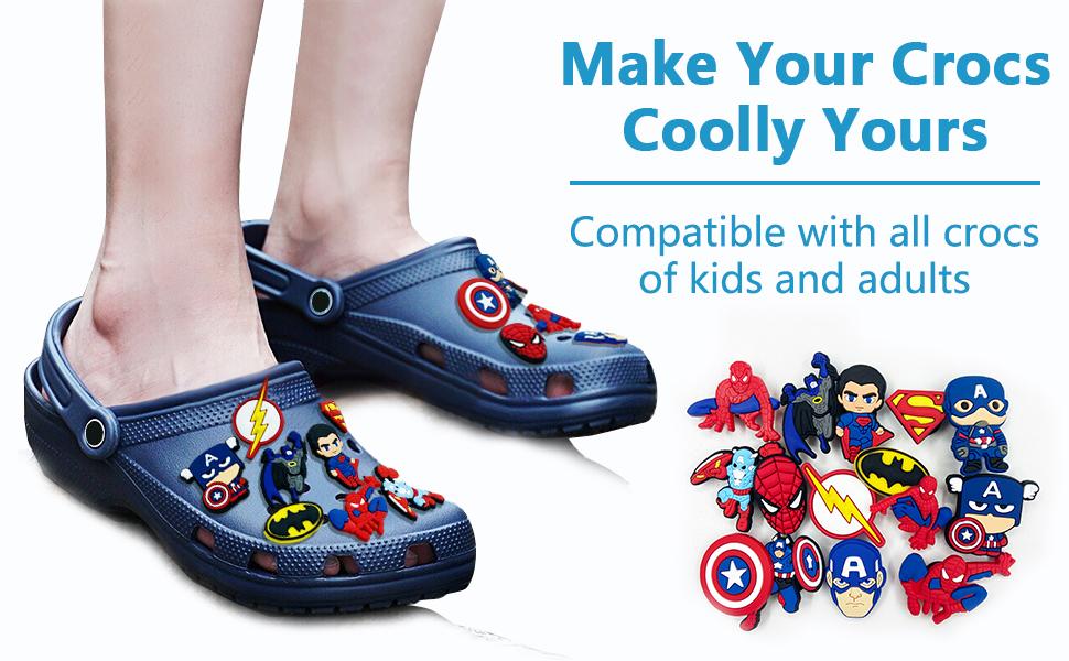 crocs charms marvel superheroes