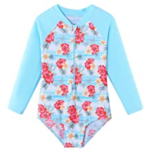 Girl's Two-Piece Long Sleeve Swimsuits