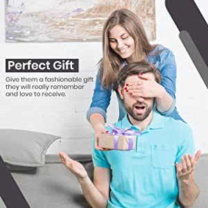 Exenact pop up wallet is the perfect gift. Smiling woman giving nice gift to happy man.