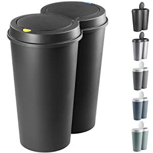 Cubo de basura basurero de 50L separación de residuos 2x25L reciclaje de la basura 50x53cm