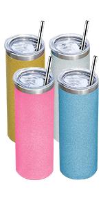 20 oz skinny tumblers set with straws
