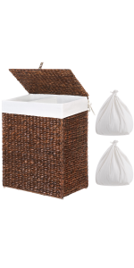clothes hamper with lid and removable bags