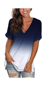 Summer Tops for Women Short Sleeve Navy