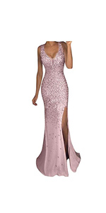 Sequin Prom Party Ball Gown Sexy Gold Long Dress