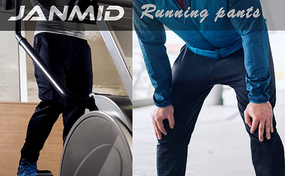 Men's Workout Athletic Pants Elastic Waist Jogging Running Pants for Men with Zipper Pockets