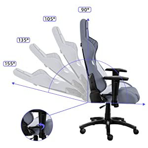 25-155 reclining gaming chair,pc gaming chair with angle adjustable tilt