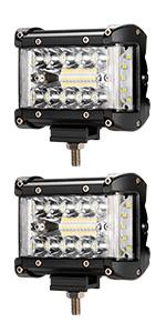Pair 4 Inch LED Light Bar with Wiring Harness Kit