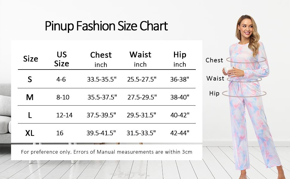 Pinup Fashion Size Chart