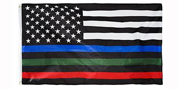 thin blue green red line flag