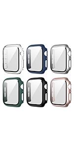 6 PACK Hard Case with Tempered Glass Screen Protector For Apple Watch Series