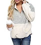 MEROKEETY Women's Long Sleeve Contrast Color Zipper Sherpa Pile Pullover Tops Fleece Sweatshirt