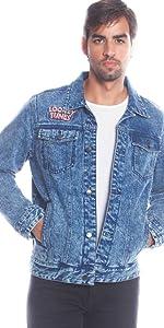 Members Only Men's Looney Tunes Denim Trucker Jacket Slim Fit