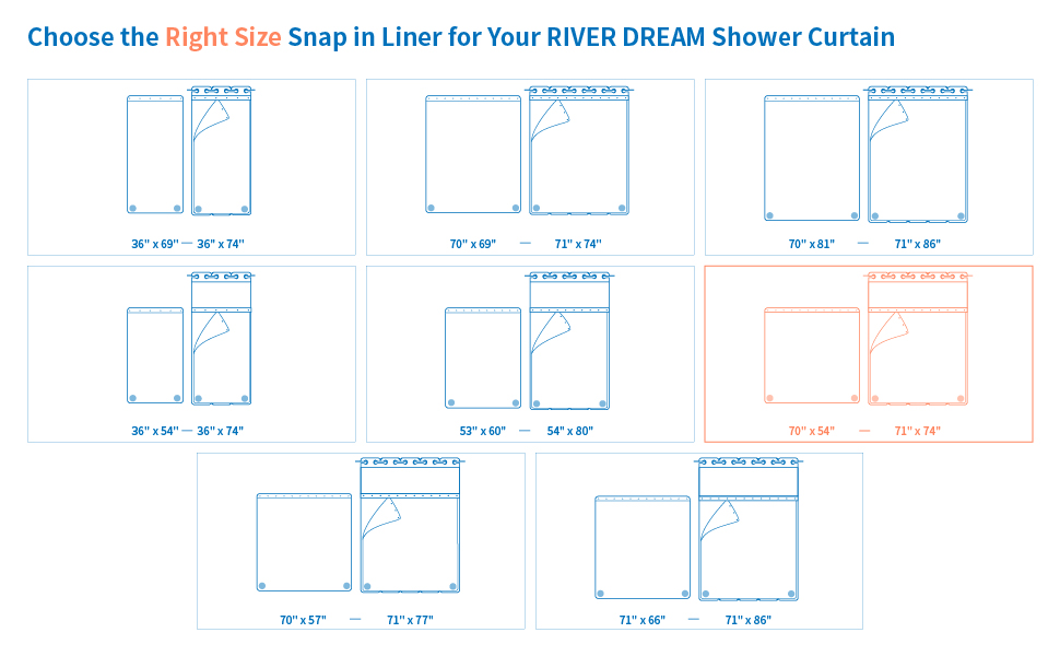 Choose the Right Size Snap in Liner for Your RIVERE DREAM Shower Curtain