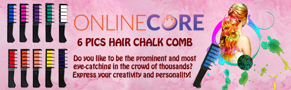 Online Core 6 Colors Hair Chalk for Temporary Hair Dye for Kids Adult Boys Crazy