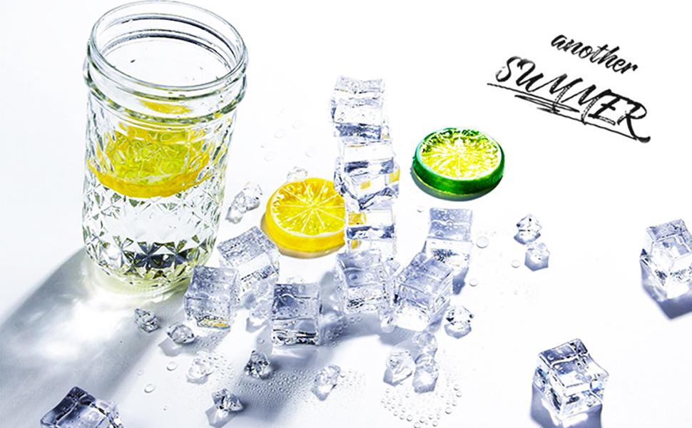 Fake ice Cubes Lemon Slice Set