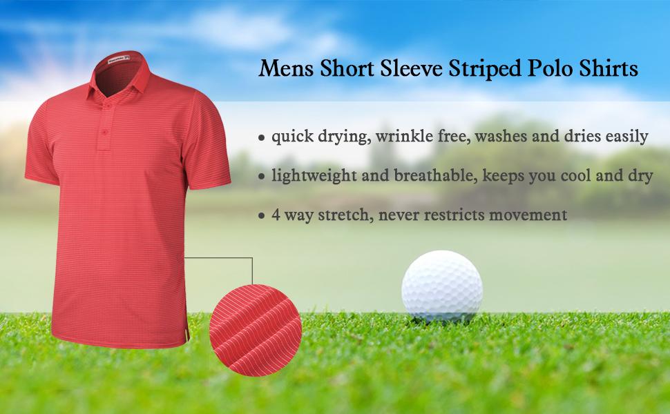 mens short sleeve striped golf polo shirts