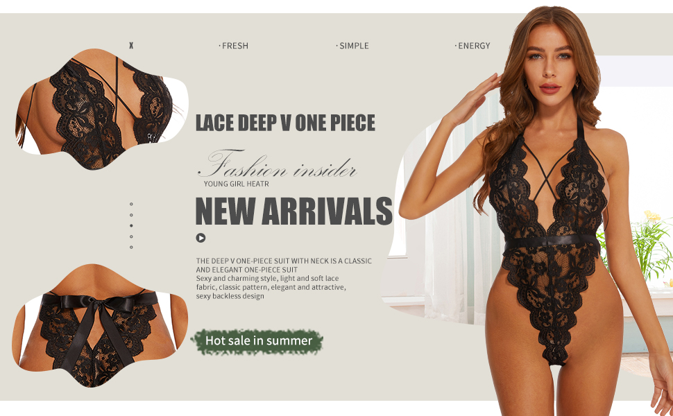 ADSEXY Lingerie for Women Sexy Lace Teddy Bodysuit Deep V Neck Babydoll Halter Strap One Piece