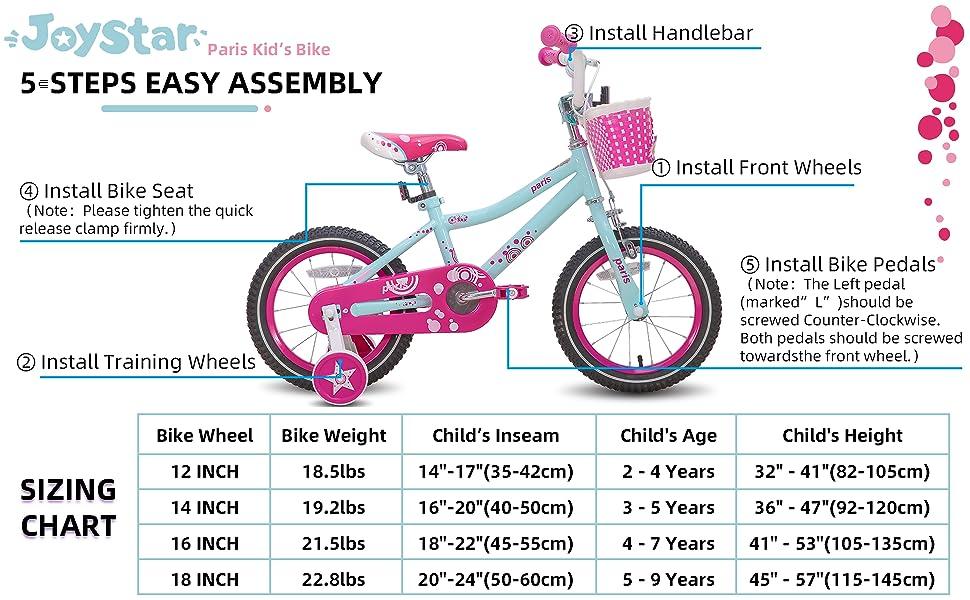 joystar assembly and size chart