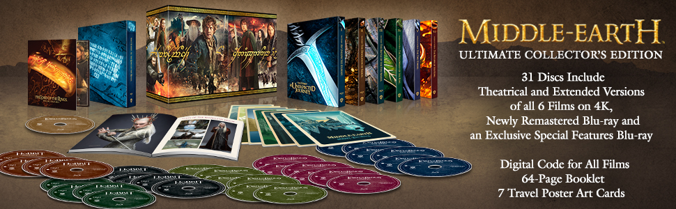 middle earth ultimate collector's edition 4k lord of the rings trilogy hobbit trilogy