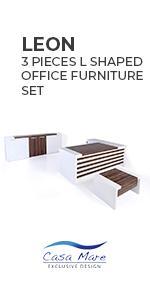 Casa Mare Leon 3 Pieces L Shaped Office Furniture Set