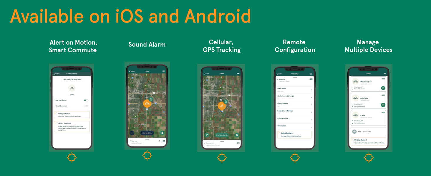 Galeo Mobile Application Preview, GPS LTE bike tracker with motion sensor and remore audible alarm