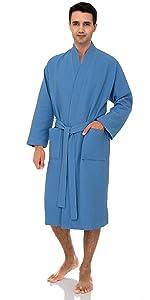 TowelSelections Mens Robe, Kimono Waffle Spa Bathrobe