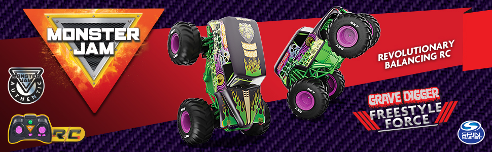 Grave Digger Freestyle Force from Monster Jam - images of performing front and rear wheelies Ad