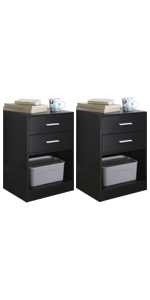 Nightstand with double drawers set of 2