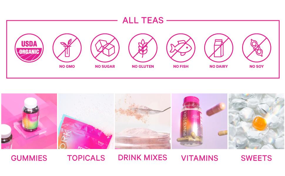 Pink Stork Tea Icons