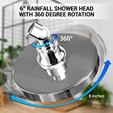 """Gurin Products 6"""" rainfall shower head with 360 degree rotation"""