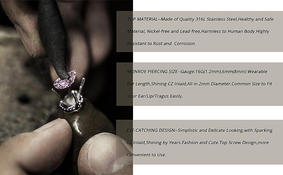 316L Stainless Steel Tragus Earrings