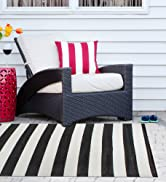 Outdoor stripe rug on a patio