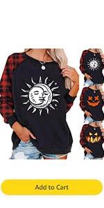 Halloween Sun and Moon Prints Shirt for Women Pumpkin Plaid Sweatshirt