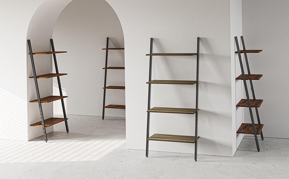 CubiCubi Ladder Shelf, Leaning Shelf, 4-Tier Bookshelf, Storage Rack Shelves