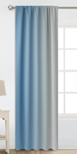 Rod Pocket Greyish White and Blue Ombre Room Darkening Ombre Curtains
