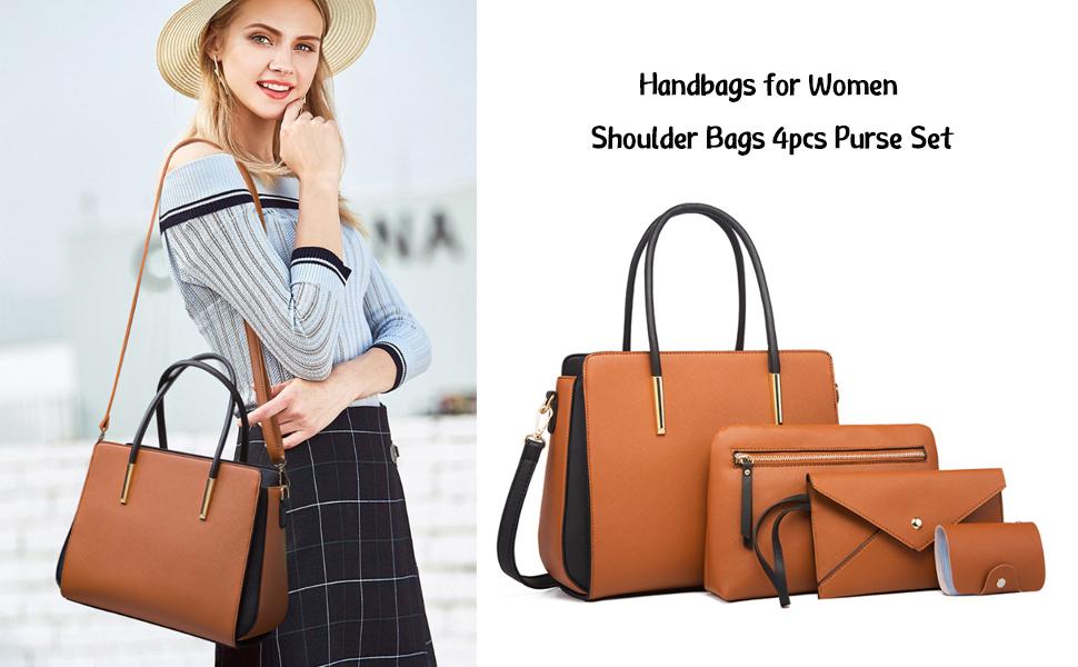 YHOK Handbags for Women Shoulder Bags Tote Satchel Hobo 4pcs Purse Set