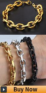 stainlss steel rolo cable bracelet for men