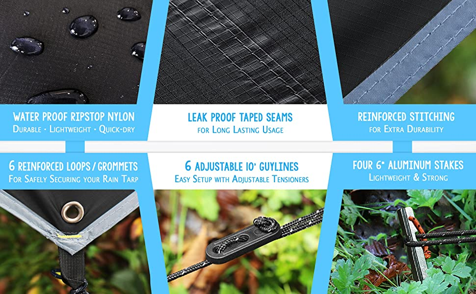 Rain tarp features and contents