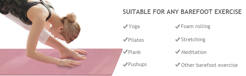 This yoga mat is designed for barefoot exercises
