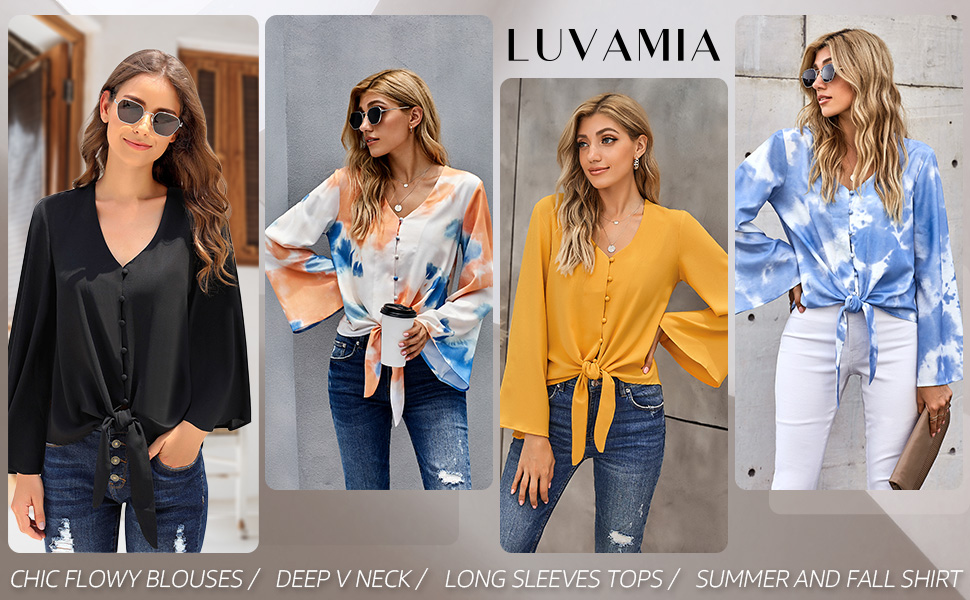 Women's Sexy V Neck Tops Long Sleeve Button Down Tee Shirts Loose Blouses Fall Tops
